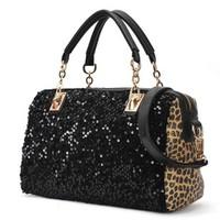 2013 New, Sales women's casual leopard print paillette tote bags, fashion designers handbags, Messenger bags, TC1308