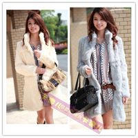 SALE Stand collar medium-long 2012 rabbit fur coat fur patchwork female slim rex rabbit fur