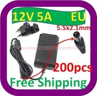 200 pcs Free Shipping NEW 60W AC Home Wall Adapter Power Supply Charger For LED Strip light 12V 5A EU Plug AC100V-240V Input