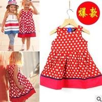 2014 summer hot-selling 100% cotton dot girl  dress kid's child dress children's clothing 2-7Y
