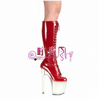 Super-elevation high-heeled shoes 20cm thin heels boots crystal princess high-leg plus size women's shoes