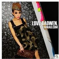 women Fashion military wind 2014 sex  Camouflage PU patchwork shoulder strap chiffon one-piece dress free shipping