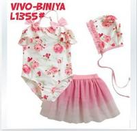 Retail-Summer Floral swimsuits+ TUTU+caps 3pcs/set girl's swimwear Flower Beach wears Girl's Bathing suit