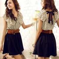 2013 chiffon casual dress fashion polka dot summer short-sleeve dress women dress #088