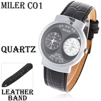 Fashionable Miler Men's Dual Dial 19mm Leather Quartz Analog Watch (Black)