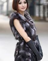 New   fashion Horse fox fur vest fur waistcoat medium-long fox fur vest 2011