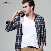 Men's clothing spring quinquagenarian male shirt casual shirt casual three quarter sleeve shirt male shangyi