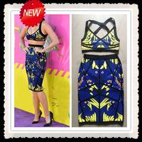 2013 lastest style women sexy spaghetti strap 2 pieces blue bikini bandage dress