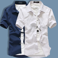 Male short-sleeve shirt short-sleeve shirt slim solid color elastic shirt casual cf36p40
