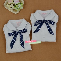 Free shipping!New 2014 spring and  autumn children's clothing boats sleeve white shirt Blue Polka Dot Ribbon
