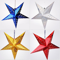 Christmas decoration stereo double faced laser christmas paper five-pointed star decoration