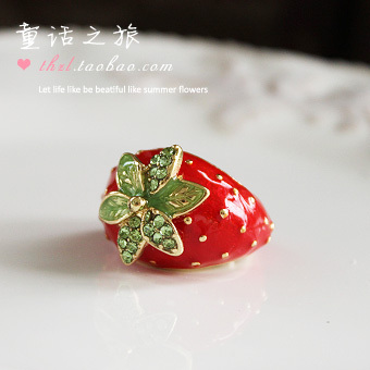 Accessories personalized strawberry ring finger ring  CRHuman