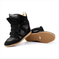 Free Drop Shipping Isabel Marant 2013 Hot Star Genuine Leather Height Increasing Casual color match Sneakers Women Fashion Wedge