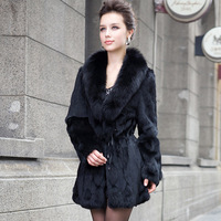 2014 Newest Ladies' Fashion Genuine Rabbit Fur Coat with Fox Fur collar Winter Women Fur Overcoat Outerwear Coats VK0701