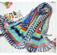 3 colour mix 180*110CM  2013 New Lady silk scarf  women rainbow scarf  wholeslae voile striped scarf women shawl  BF-114