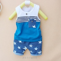 (Free Shipping)2013 Summer 1-5 Older Infant Baby Clothing Child Baby Boy Vest Shorts Set Five-pointed Star Supply