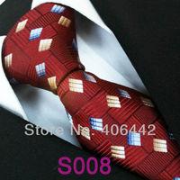 Coachella Men's ties 100% Pure Silk Tie Burgundy Red Grids With Gold Blue Necktie Formal Neck Tie for Men dress shirt Wedding