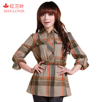 Red clover 2013 spring long-sleeve slim fashion preppy style plaid shirt female c026