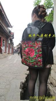 2013 vintage national women's trend genuine leather backpack handmade cowhide backpack travel bag