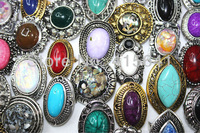 Party Gift Wholesale Mixed Design Lots 25pcs Resin Alloy  Tibetan silver Women's rings