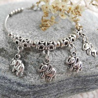 cute elephants bangle bracelet women girls bracelets tibetan silver fashion jewelry sweetie gifts charming SZZA1022