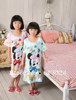 Free shipping (6pcs/lot) 100% cotton mickey mouse design girls pajamas dress,children sleepwear,baby/kid sets