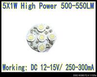 10pcs/Lot 5W 5*1W High Power Warm White LED 550LM 28mm PCB For LED 5W driver 15V / 300mA