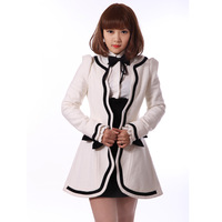 H1502013 autumn and winter white petals black slim wool coat outerwear small wool