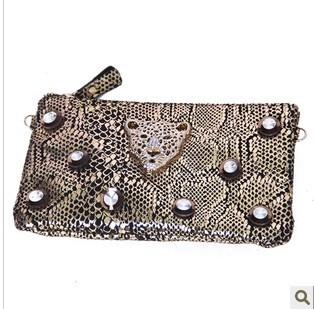 2013 women's handbag fashion popular 100% leather tassel chain leopard head rhinestone day clutch bag shoulder bag
