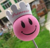 EVA Pink princess with Crown Antenna Ball Toppers  Fashion car aerial decoration ball exterior princess smart mini