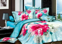 Hot sale!4pcs3d bedding sets100% cotton.Blue peony roses Printed bedclothes the bed linen queen size 5159