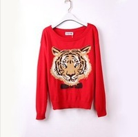 Free Shipping New Arrival! On sale !handsome unique design Tiger knitted sweater women,pullover sweater, women clothing