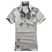Hot-selling 3017 T-shirt summer short-sleeve fashionable casual print male turn-down collar T-shirt p35