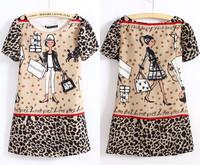 2013 New Womens European Fashion Cartoon Girl Print Short Sleeve Chiffon Dress