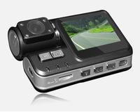 "Dual lens HD Car DVR with Wide Angle 120 Degree 720P 4 IR LED HD 720P 2.0"" TFT LCD Car DVR Camera Recorder I1000"
