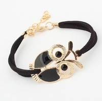 Min order is $10(mix order) charm Bracelet women fashion bracelet leather cord bracelet jewerly owl bracelet 4 colors SL106