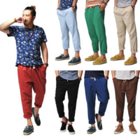 Loose harem pants male linen pants fluid male casual ankle length trousers summer the trend of male trousers