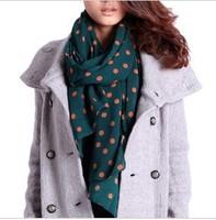 2014  New Classic Lady dot scarf wholeslae chiffon scarf women silk scarves shawl  BF-116 free shipping