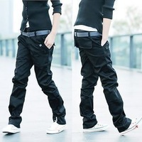Spring and summer double belt casual male slim pants casual trousers male trousers casual pants trousers