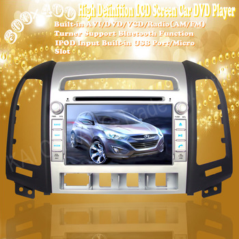 "High Resolution 7"" Touch Screen Car DVD Player with GPS Navigation for Hyundai SANTA FE 2006-2012"