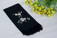 Free shipping Suzhou hand-embroidered  plum flower petals pattern silk tassel scarf