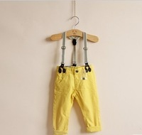 freeshipping 5pcs/lot two color child 100% cotton spaghetti strap casual trousers washed cotton overall pants popular design