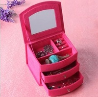 Jewelry box ring earrings stud earring storage box princess fashion flannelet wool jewelry box