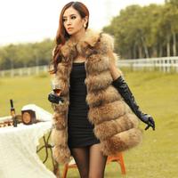 New 2014 Sale! Women's Trimmed  Genuine Raccoon Fur Vests Wasicoats Natural Furs Fox Fur Jackets Coats Women Fashion Outerwear