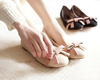 Free shipping comfortable round toe bow shallow mouth single shoes flat heel shoes flat heel women's shoes casual work shoes