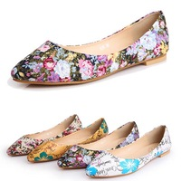Free shipping 2014 spring autumn fashion pointed toe floral print plus size women flats shoes / lady  ballet / Feminos sapatos