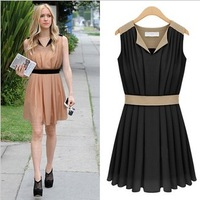 Suit type V-neck summer women's new arrival 2013 chiffon one-piece dress female slim
