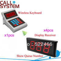 Kitchen Call System for Restaurant with1 pcs Transmitter Keypad and 4pcs Display Screen show 3-digit number Free Shipping