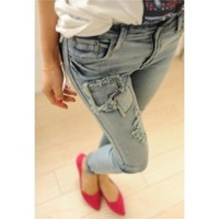 Hot sale! Free shipping 2013 spring, summer, autumn new women gray patch patch holes in tight were skinny legs curling jeans