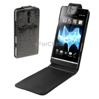 Free Shipping Crocodile Texture Leather Case for Sony Xperia S LT26i Free Shipping New Support Big Order